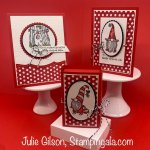 Christmas cards and a treat box created with the Gnome for the Holidays stamp set. #Stampin
