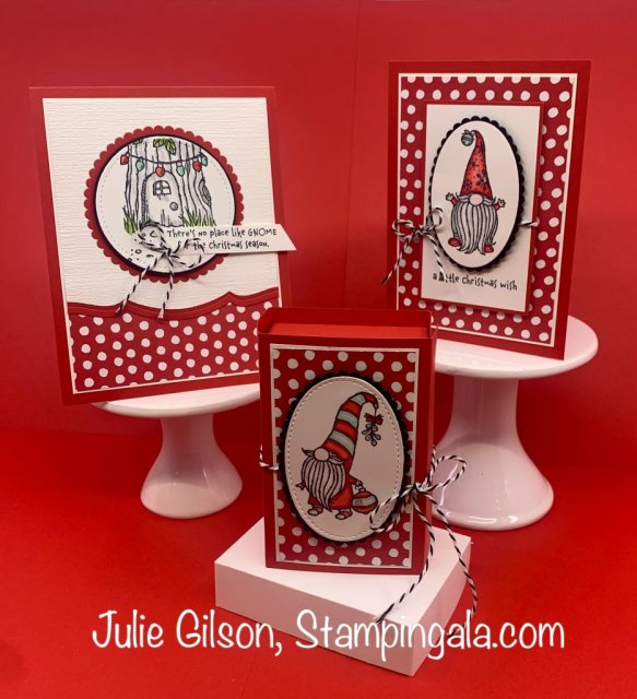 Christmas cards and a treat box created with the Gnome for the Holidays stamp set.  #Stampin' Up!, #Stampin' Gala, #Handmade cards