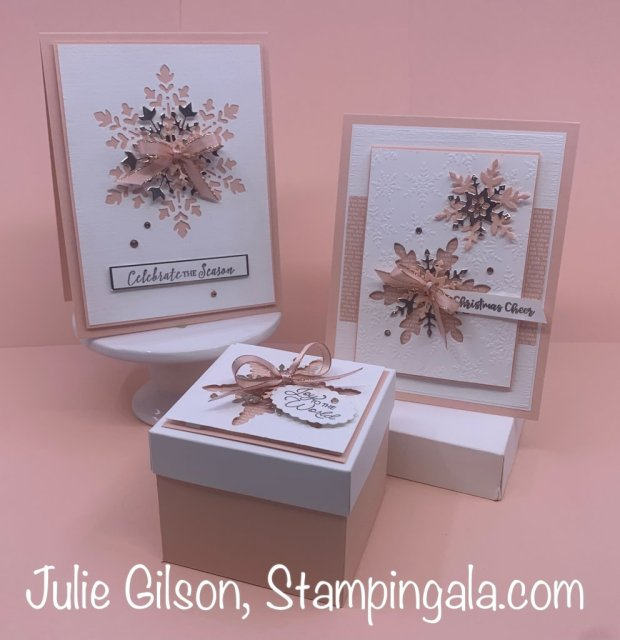 Christmas Cards & Treat Holder created with Stampin' Up's Snowflake Wishes Stamp Set.  #Stampin' Up, #Stampin' Gala, #Christmas Crafts, #Treat Holder, #Facebook Live