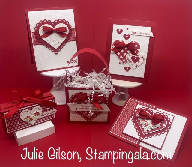 Valentine cards and treat holders using Stampin' Up's Lots of Heart Bundle. #Stampin' Up, #Stampin' Gala, #Create a la Carte, #3D, #Handmade Cards