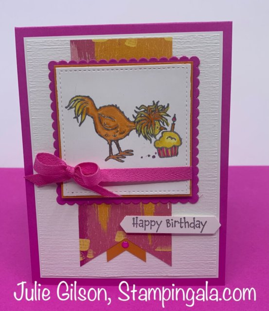 Birthday card created with Stampin' Up's Hey Birthday Chick stamp set. #Stampin' Up, #Stampin' Gala, #Makeover Monday.