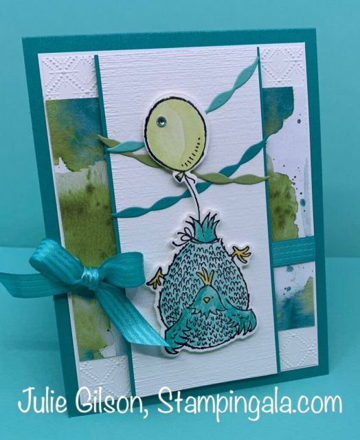 Greeting cards and treat holder created with Stampin' Up's Hey Birthday Chick Bundle.  #Stampin' Up, #Stampin' Gala, #Birthday Card, #Children's Parties, #Handmade Cards