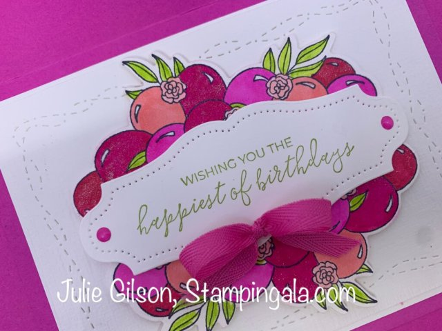 Birthday cards and treat holder created with the Prettiest Birthday Bundle for Facebook Live. #Stampin' Up, #Stampin' Gala, #Stampin' Blends, #Alcohol Markers, #Handmade Cards.