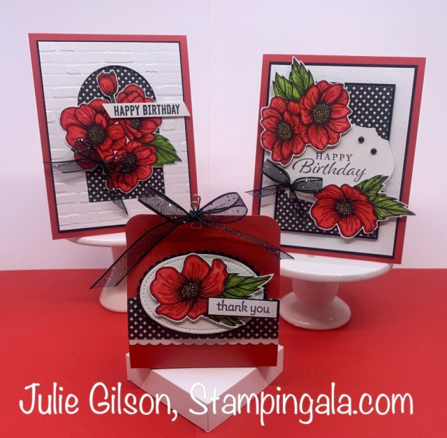 Greeting cards and teabag holder featuring the True Love Designer Series Paper.  #Stampin' Up, #Stampin' Gala, #Julie Gilson, #Birthday, #3D, #Handmade cards