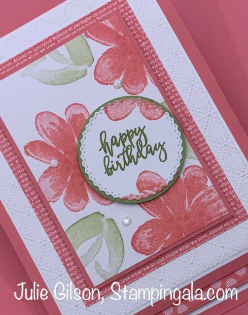 Birthday card created with Stampin' Up's Gorgeous Posies stamp set. #Stampin' Up, #Stampin' Gala, #Julie Gilson, #Makeover Monday, #Easel Card, #Fun Folds, #Birthday