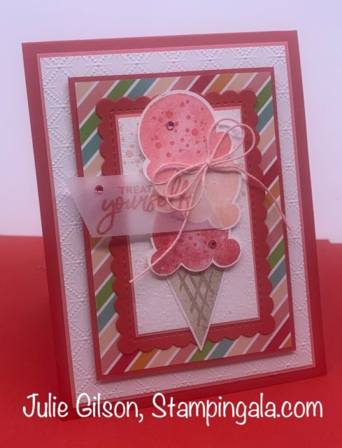 Greeting Cards and a Treat Holder created with Stampin' Up's Sweet Ice Cream Bundle. #Stampin' Gala, #Julie Gilson, #Birthday, #3d, #Handmade crafts