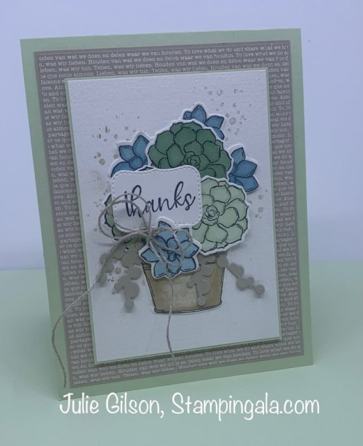 Thank you card created with Stampin' Up's Simple Succulents stamp set for Makeover Monday.  #Stampin' Gala, #Julie Gilson, Stampin' Blends Markers, #Handmade  cards