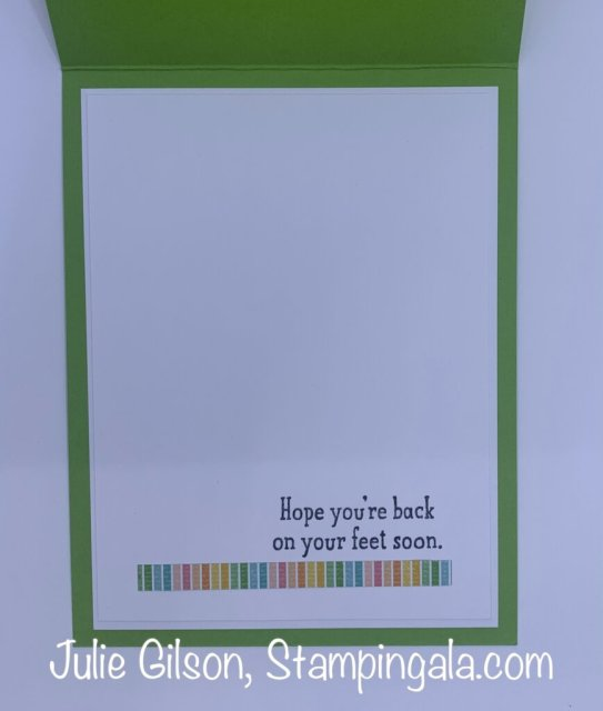 Greeting Cards & Treat Holder created with Stampin' Up's Back on Your Feet Stamp Set.  #Stampin' Up, #Stampin' Gala, #Julie Gilson, #Handmade Cards, #Get Well, #Children's Cards, #Alcohol Markers, #Stampin' Blends Markers