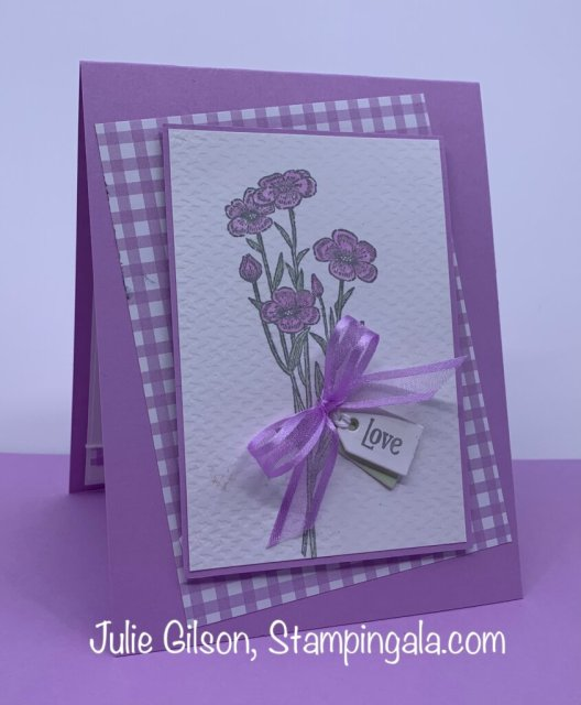 Greeting card created with Stampin' Up's Quiet Meadow stamp set. #Stampin' Gala, #Julie Gilson, #In Colors, #Handmade Card