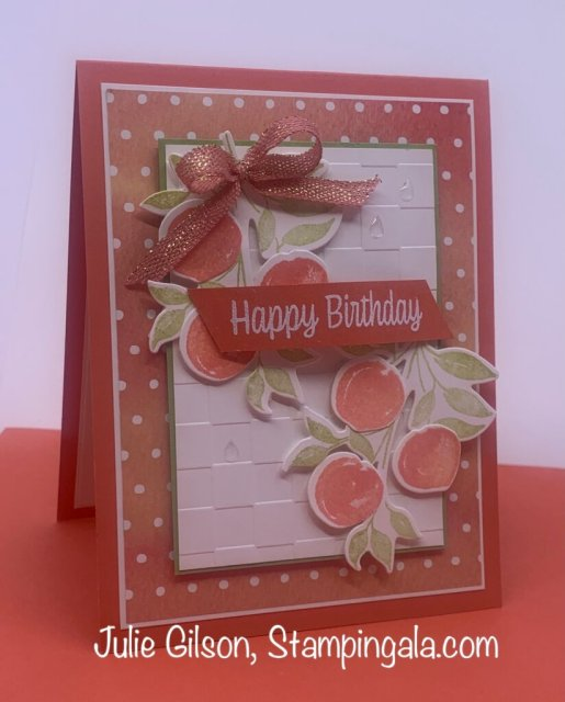 Greeting Cards & Treat Holder created with Stampin' Up's Sweet as a Peach Bundle.  #Stampin' Gala, #Julie Gilson, #Birthday, #Handmade Cards, #3d