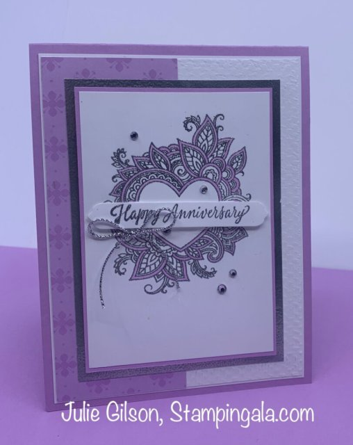 Greeting card created with Stampin' Up's Henna Hearts Stamp Set for Makeover Monday. #Stampin' Gala, #Julie Gilson, #Heat Embossing, #Handmade Cards