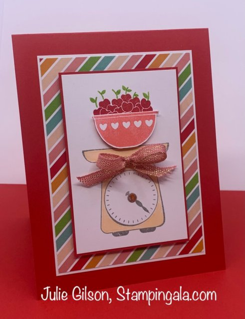 Greeting cards & treat bag created with Stampin' Up's Measure of Love stamp set.  #Stampin' Gala, #Julie Gilson, #Handmade cards, #Crafts, #3D, #Treat Holders