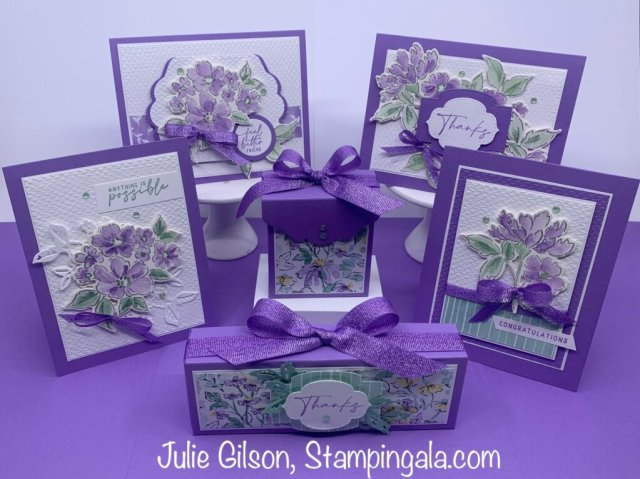 Create six beautiful projects, four greeting cards and two treat boxes.  Complete step-by-step, pdf tutorial and class to go.  #Stampin' Up, #Stampin' Gala, #Julie Gilson, #Handmade Cards
