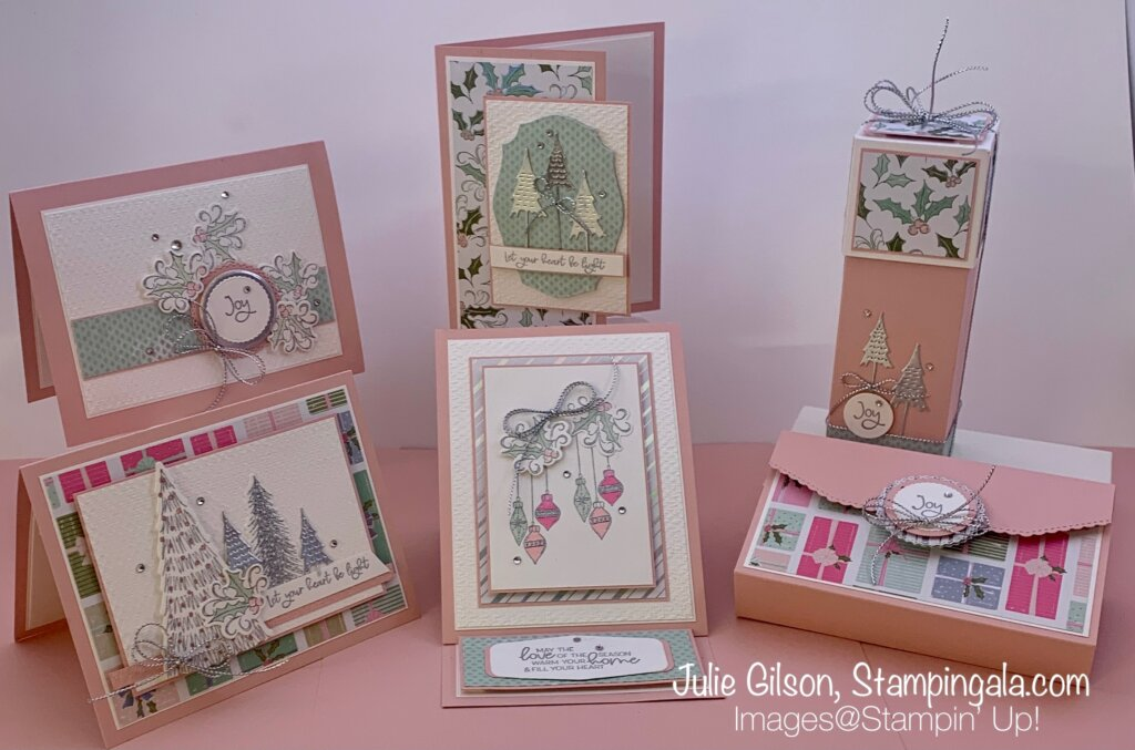 Whimsy & Wonder Class to Go - Create four Christmas Cards and two gift boxes using Stampin' Up's! Whimsy & Wonder Bundle.  #Stampin' Gala, #Julie Gilson, #Treat Holder, #Hostess Gift, #Handmade Cards