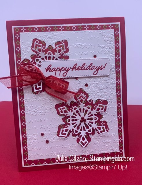 Christmas Cards & Treat Holder created with Stampin' Up's! Frosted Gingerbread Bundle & Pretty Pillow Box Dies.  #Stampin' Gala, #Julie Gilson, #Christmas Crafts, #Handmade Cards, #Party Favors