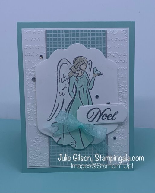 Christmas card created with Stampin' Up's! Angel of Peace Stamp Set for Makeover Monday. #Stampin' Gala, #Julie Gilson, #Handmade Cards, #Holiday Catalog