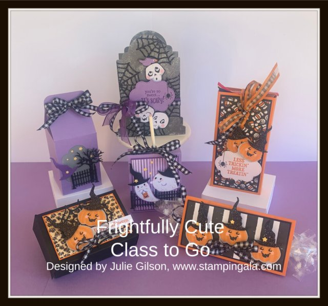 Create six adorable treat holders for Halloween using Stampin' Up's! Frightfully Cute Bundle. #Stampin' Gala, #Julie Gilson, #Halloween Treats, #Halloween Favors, #Children's Parties, #Paper crafts, #www.stampingala.com