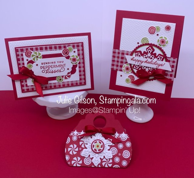 Greeting cards and gift card holder created with Stampin' Up's! Frosted Gingerbread Bundle. #Stampin' Gala, #Julie Gilson, #Christmas Cards, #Handmade Cards, #Paper Crafts