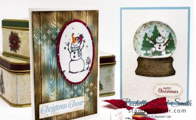 Snowman Stamp set used 3 ways to create vintage Christmas projects