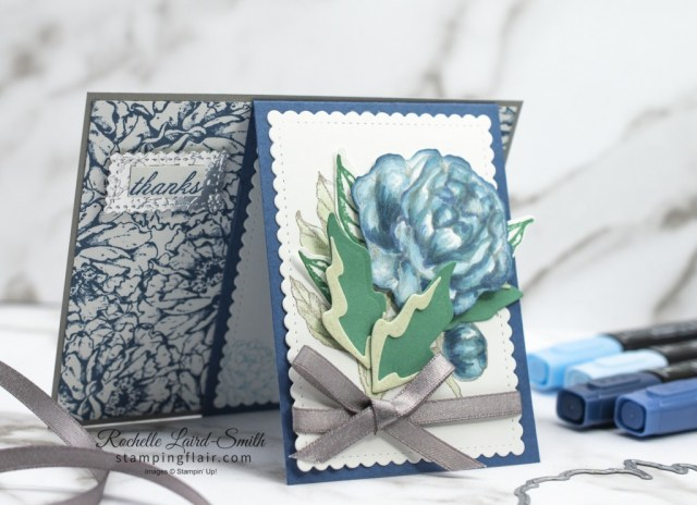 Front Flip Fancy Fold Card with Prized Peony bundle