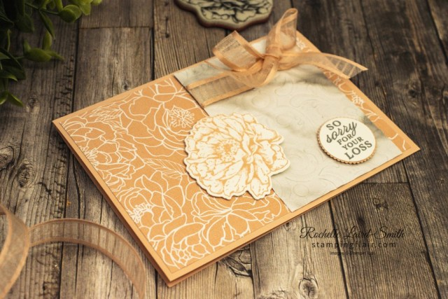 Stampin' Up!, Peony Garden DSP, Sympathy Card, Emboss DSP with Parisian Flourish Embossing Folder