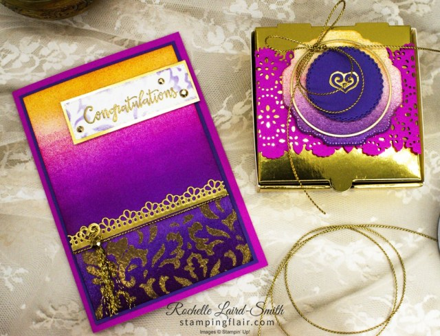 Awow Blog Hop, November 2020, Around the World on Wednesday Blog Hop, The Market, Stampin' Up!, SU, Greeting Card with Ornate Borders Dies, Decorative Mask with Heat embossing, Gold Filigree look and sponged background to resemble Indian saree, sari shot colour