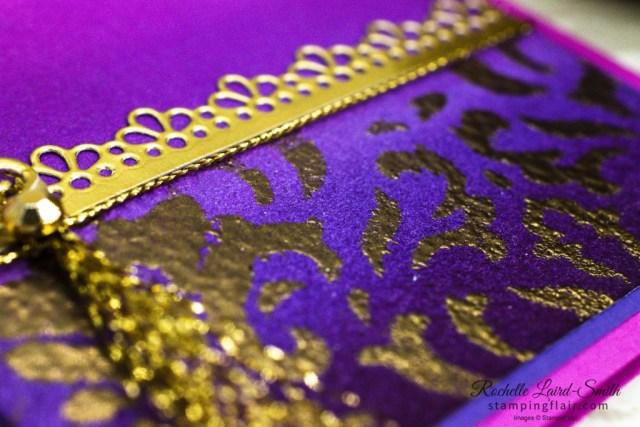 Awow Blog Hop, November 2020, Around the World on Wednesday Blog Hop, The Market, Stampin' Up!, SU, Greeting Card with Ornate Borders Dies, Decorative Mask with Heat embossing, Gold Filigree look and sponged background to resemble Indian saree