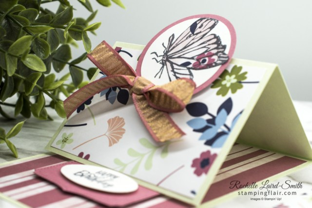 Countdown to End of Sale-A-Bration Day 4, Touch of Ink stamp set, Paper Blooms DSP, Stampin' Up!, SU, Fancy Fold Easel Card, How to make an Easel card