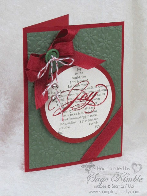Handmade Christmas Card Joy To The World Stamping Madly