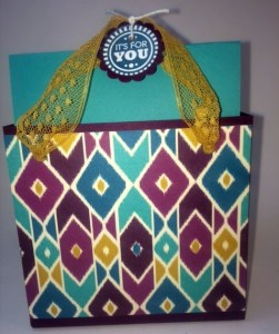 StampinUp Gift Bag punch board sized for A2 cards designed by demo Beth McCullough.  Please see more card and gift ideas at www.StampingMom.com #StampingMom