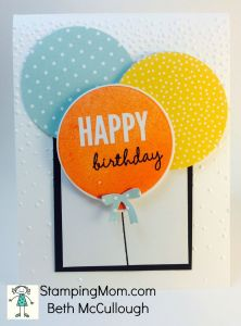 StampinUp birthday card made with the Balloon Framelits, designed by demo Beth McCullough. Please see more card and gift ideas at www.StampingMom.com #StampingMom