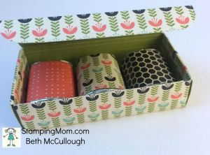StampinUp 3 Hershey's Miniatures candy box designed by Beth McCullough. Please see more card and gift ideas at www.StampingMom.com #StampingMom