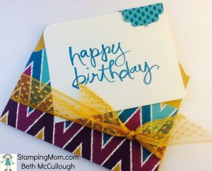 StampinUp birthday card made with Bohemian DSP, designed by demo Beth McCullough. Please see more card and gift ideas at www.StampingMom.com #StampingMom