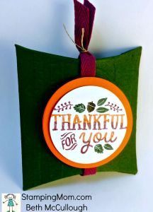 StampinUp Thanksgiving box made with the Square Pillow Box Thinlit Die, designed by demo Beth McCullough. Please see more card and gift ideas at www.StampingMom.com #StampingMom