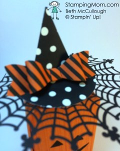 Stampinup Pumpkin box and witches hat made with the Bow Builder punch, designed by demo Beth McCullough.  Please see more card and gift ideas at www.StampingMom.com #StampingMom
