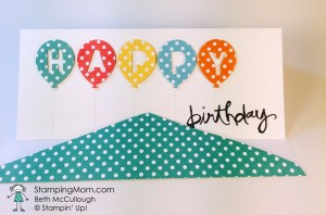StampinUp birthday card made with the Balloon Bouquet Punch, designed by demo Beth McCullough.  Please see more card and gift ideas at www.StampingMom.com #StampingMom
