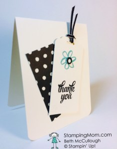 StampinUp quick and easy thank you card designed by demo Beth McCullough.  Please see more card and gift ideas at www.StampingMom.com #StampingMom