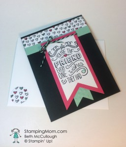 StampinUp birthday card made with the Friendly Wishes stamp set, designed by demo Beth McCullough. Please see more card and gift ideas at www.StampingMom.com #StampingMom