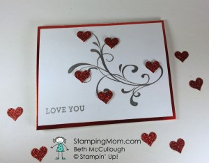 StampinUp Valentine card made with the Everything Eleanor stamp set, designed by demo Beth McCullough.  Please see more card and gift ideas at www.StampingMom.com #StampingMom