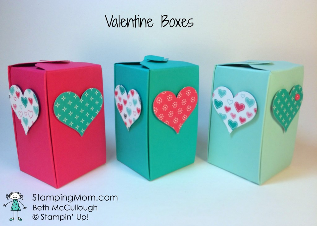 StampinUp Valentine boxes made with the Gift Box Punch Board, designed by demo Beth McCullough.  Please see more card and gift ideas at www.StampingMom.com #StampingMom.com