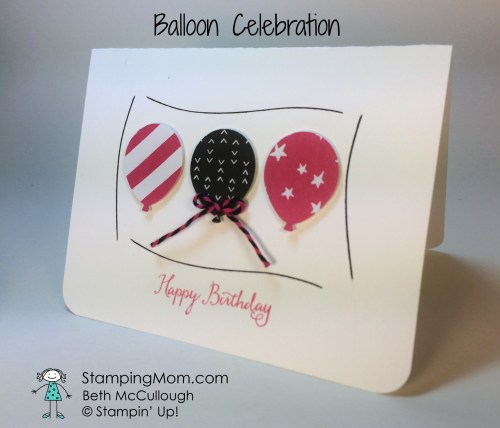 StampinUp Birthday card made with the Balloon Celebration stamp set, designed by demo Beth McCullough.  Please see more card and gift ideas at www.StampingMom.com #StampingMom