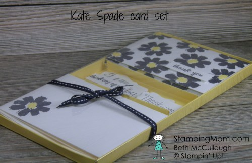 "Kate Spade inspired gift card set designed by Stampin' Up demo Beth McCullough. Please see my blog for directions to make the box http://stampingmom.com/directions-for-kate-spade-inspired-gift-card-set/ #StampingMom This box is not sized for standard A2 cards. Theses are note cards 5"" x 3 1/2"" with envelopes 5 1/8"" x 3 5/8"""