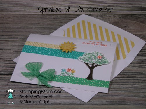 StampinUp Birthday card made with Sprinkles of Life stamp set designed by demo Beth McCullough. Please see more card and gift ideas at www.StampingMom.com #StampingMom