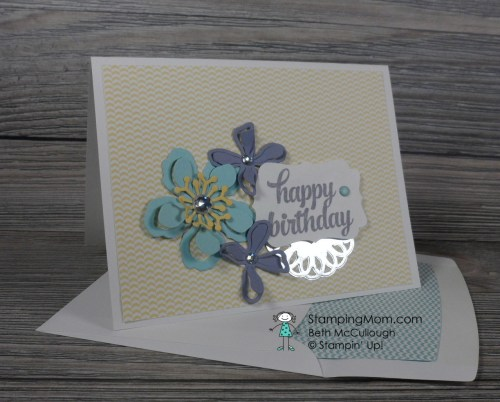 StampinUp Birthday card made with the Botanical Builder Framelits Dies, designed by demo Beth McCullough. See more card and gift ideas at www.StampingMom.com #StampingMom