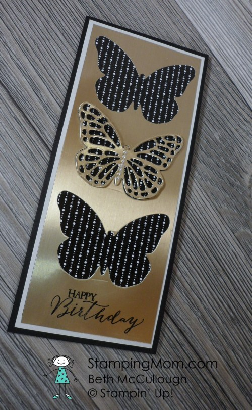 StampinUp birthday card made with the Butterflies Thinlits by my friend Barb Sease.  Please see more card and gift ideas at www.StampingMom.com #StampingMom