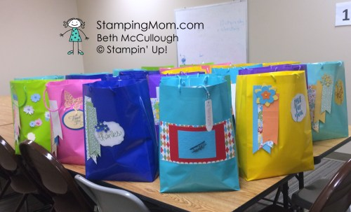 StampinUp decorated gift bags made by Beth and Barb. See more card and gift ideas at www.StampingMom.com #StampingMom