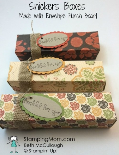 StampinUp Snickers Box made with Envelope Punch Board designed by demo Beth McCullough. Please see more card and gift ideas at www.StampingMom.com #StampingMom