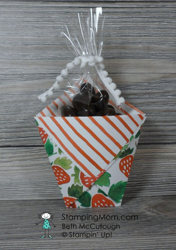 StampinUp Treat Packet made with Fruit Stand Designer Series Paper made by demo Beth McCullough. Please see more card and gift ideas at www.StampingMom.com #StampingMom