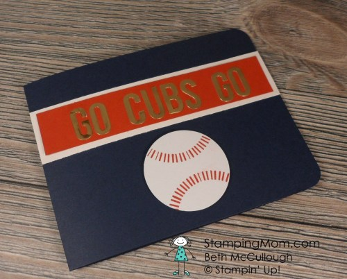 Stampin Up Chicago Cubs card made with Paper Pumpkin supplies from June 2016, designed by demo Beth McCullough. Please see more card and gift ideas at www.StampingMom.com #StampingMom #cute&simple4u