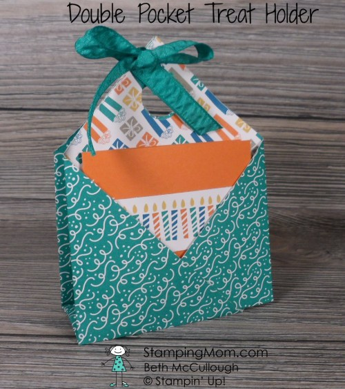 Stampin Up Double Pocket Treat Holder 8x8 made with Party Animal DSP from the 2017 Occasions catalog, designed by demo Beth McCullough. Please see more card and gift ideas at www.StampingMom.com